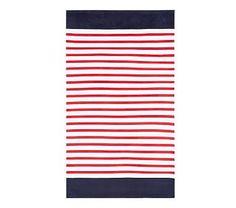 Breton Stripe Adult Beach Towel, Red/Navy