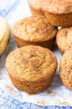 Easy Healthy Banana Muffins Recipe, made in one bowl! One of my most popular recipes, these best banana muffins are whole wheat and refined sugar free. Made with cinnamon and mashed banana, you can make them regular or mini muffin size. Easy Healthy Banana Muffin Recipe, Healthy Muffins, Healthy Sweets, Healthy Baking, Cinnamon Banana Bread, Banana Bread Muffins, Cinnamon Muffins, Mini Muffins, Cinnamon Rolls