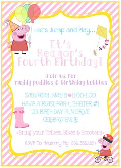Peppa Pig Birthday Invitation by SONREAdesigns on Etsy