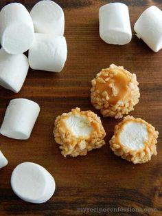 Rice Krispie Caramel Marshmallows Roll marshmallows in caramel then top with rice krispies for a fun and yummy treat! Caramel Marshmallow Recipe, Recipes With Marshmallows, Marshmallow Treats, Dipped Marshmallows, Marshmallow Dipped In Chocolate, Marshmellow Squares, Homemade Marshmallows, Chocolate Truffles, Chocolate Brownies