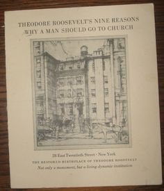 1924 Theodore Roosevelt House 9 Reasons Why a Man Should Go to Church Pamphlet