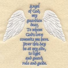 Guardian Angel Prayer ... 'On a wing -n- a prayer'