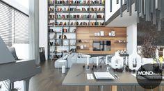 Własna biblioteka prezentuje się w tym niezwykle przestronnym wnętrzu rewelacyjnie, stanowi dla niego ciekawe uzupełnienie i odzwierciedla pasję właścicieli. Po więcej inspiracji zapraszamy na Naszą stronę internetową:biuro@monostudio.pl oraz na Facebooka