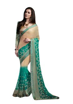 Description:- Sky Blue & Cream Color Pure Georgette Fabric Saree with Beige & Sky Blue color Shimmer & Net Fabric Beige Color Floral Embroidery Blouse. This Saree is Decorated with Beige color floral Embroidery & Stone work on Border line with Green & Copper color Zari Lace Border work with two side pipping which looks stunning. The Blouse can be Stitched upto size 44. Rate:- 2975/- For bookings:- Ring or Whatsapp on +919870725209 Shipping in India:- Free Cash on Delivery:- Available in…