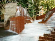 If you're walking around downtown Portland, the Lovejoy Fountain is a great place to stop and enjoy.