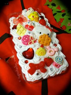 Hello Kitty Red Bows Whipped Cream Decoden iPhone by cupcakedog, $20.00