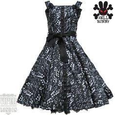 Hell Bunny Black Bebop Musical Notes Rockabilly 50's Retro Dress Sizes 8 to 20 | eBay