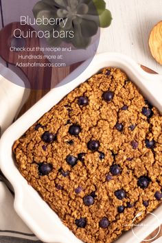 BLUEBERRY QUINOA PROTEIN SNACK BARS, THE HEALTHY SNACK THAT YOU'LL WANT TO EAT EVERY DAY!  Are you tired of health food snacks that taste like cardboard? Are you looking for a healthy well rounded snack that you will actually enjoy eating? Then you have got to try these Blueberry Quinoa Protein Bars. They are the perfect snack after a workout, to get over your mid day slump, or anytime you are feeling hungry. Quinoa Protein, Protein Snacks, Protein Bars, Delicious Meals, Yummy Food, Healthy Food, Healthy Eating, Macro Meals, Sugar Free Syrup