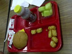 Julie - This lunch is: no veggies, school lunch, ketchup