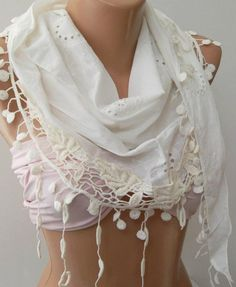 Scarf and bandeau White   Elegance Shawl / Scarf with Lace Edge by womann on Etsy,