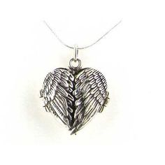 "Luxury Ladies Sterling Silver Unusual Hinged Locket Pendant with Opening Angel Wings on 18"" Sterling Silver Snake Chain Necklace - Ideal for Christmas, Birthday, Anniversary, Valentines Day or Mothers Day Gift"