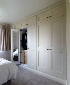 Bedroom wardrobe - Fitted shaker wardrobes with mirrored doors and oak internal drawers Spray finished in farrow and ball 'matchstick' Burton on Trent Bedroom Built In Wardrobe, Bedroom Built Ins, Fitted Bedroom Furniture, Fitted Bedrooms, Bedroom Closet Design, Home Bedroom, Girl Bedrooms, Wardrobe Wall, Wardrobe With Mirror