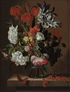Jacob Marrel - Flowers in a Glass Vase
