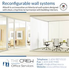 Simple and efficient, Altos facilitates cost-effective reconfiguration or full relocation as required. Its unique universal framework allows changes in elevation, dimension, Fascia function and finish to maximize the life of the product. For more information, please call The Crew on 1-604-987-0110