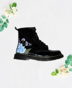 Hand painted Dr Martens vegan leather biker boots, painted with Blue Hydrangea and bumblebee design. Designed by Elizabeth Rose and painted in our London studio Biker Boots, Combat Boots, Blue Hydrangea, Hydrangeas, Unique Wedding Shoes, Satin Color, Steampunk Wedding, London Shoes, Hand Painted Shoes