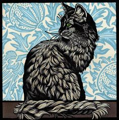 Cat Linocut by Jill Kerr