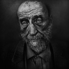 Black & White Portraits of Homeless People by Lee Jeffries. Old man, beard, wrinckles, lines of life, powerful face, intense eyes, weathered, aged, sadness, portrait, photo b/w.