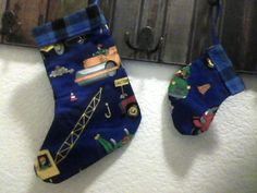DARK BLUE CONSTRUCTION WITH BLACK AND BLUE PLAID FLANNEL CHRISTMAS STOCKING AND MATCHING ORNAMENT/GIFT TAG FOR YOUR LITTLE GUY.