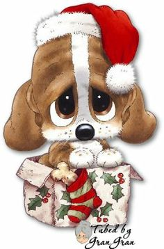 Merry Christmas & Happy New Year ! Christmas Puppy, Christmas Animals, Christmas Pictures, Christmas Time, Christmas Cards, Merry Christmas, Christmas Drawing, Christmas Paintings, Valentine's Day Printables