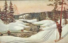 Kunstnerkort Lunden, Jan. Skiløper v/elv.  Utg Abel Stemplet 1914