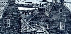 'Chimney Stacks - Robin Hood's Bay - by Janis Goodman, printmaker UK.