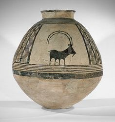 Storage jar decorated with mountain goats Period: Chalcolithic Date: ca. Geography: Central Iran Medium: Ceramic, paint Dimensions: 20 Classification: Ceramics-Vessels (Metropolitan Museum of Art) Ceramic Painting, Ceramic Art, Metropolitan Museum, Afrique Art, Ancient Persia, Ancient Near East, Native American Pottery, Keramik Vase, Greek Art