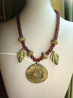 Sun Moon Ceramic Handmade Necklace SteamPunk by mallerygallery, $45.00
