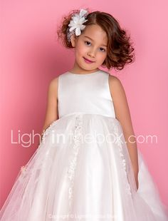 A-line Princess Tea-length Flower Girl Dress - Satin Tulle Jewel with Appliques Beading 2017 - $89.99