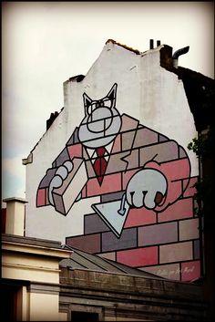 Ooh, CHAT brique ! / Street art. / Bruxelles, Belgique. / Belgium. / Le Chat par Geluck.
