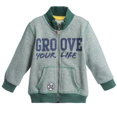 iDo Baby Boys Green Stripy Cotton Zip-Up Jacket at Childrensalon.com