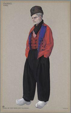 Volendam, ca. 1900. Visser met rood baadje over polkabaadje. Jan Duyvetter