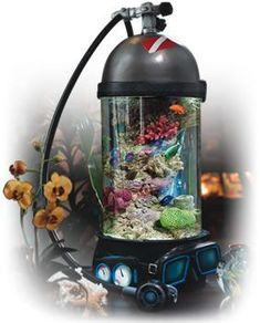 Are you also into scuba diving? Here's a chance to spice up your moments on dry land with some scuba gear and marine life - all with the same product.     Each Ocean Treasure aquarium contains: cast, seamless acrylic cylindrical aquarium offering 360ø unobstructed crystal clear viewing