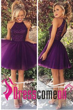 Purple Homecoming Dresses Backless Bodice Grape Short Prom Dress Cheap Homecoming Dress Halter Graduation Dresses Party Dress