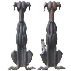 Pr. of Bronze Hound Andirons  USA  Early 20thc  Pr. of Early 20thc Bronze Hound Andirons-All Original-no Restorations