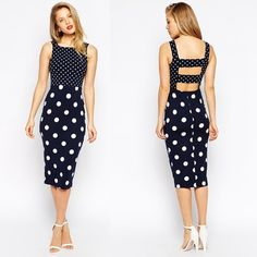 New Stylish Women Fashion Sleeveless Dot Bodycon Hollow Out Slim Dress