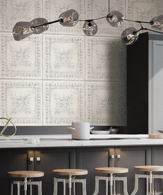 Brewster Home Fashions Off White Tin Tile Wallpaper | zulily