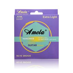 Acoustic Guitar Strings Steels Amola A3100 010-047  Phosphor Bronze Coating Acoustic Wound Guitar Strings Ultra Thin #Affiliate