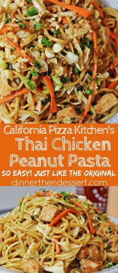 CPK Thai Peanut Chicken Pasta made with chicken, vegetables, and a honey-peanut sauce, this California Pizza Kitchen dish is easy to make at home. CPK Thai Peanut Chicken Pasta - Dinner, then Dessert Ashley Kuk Recipes to Cook CPK Thai P Thai Peanut Chicken, Thai Peanut Noodles, Thai Chicken Recipes, Thai Chicken Pizza, Thai Chicken Noodles, Spicy Thai Noodles, Chicken Pasta Salad Recipes, Chicken Pasta Dishes, Healthy Chicken Pasta