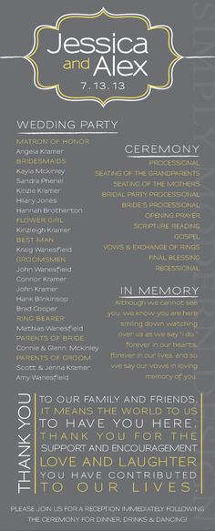 ornamental, modern wedding ceremony program - I just like the outline. I'll add my own touches to the look Wedding Photos Ideas Wedding Ceremony Ideas, Wedding Ceremony Outline, Order Of Wedding Ceremony, Our Wedding, Dream Wedding, Wedding Blog, Wedding Ceremonies, Garden Wedding, Non Religious Wedding Ceremony