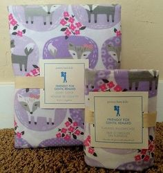 POTTERY BARN KIDS FRIENDLY FOX FLANNEL TWIN DUVET + CASE NEW BAILEY PURPLE PINK