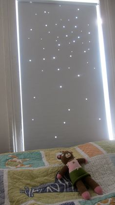 """Twinkle Curtain: This is a MAGICAL product designed to help your toddler nap and nap better/ longer during the day. A pattern of 60 stars inspired by real celestial cluster (this particular one on Kepler image of NGC 6791 star cluster) linen colored, cotton blend blackout fabric, (also has thermal properties) to project daytime light into the room and so creating an illusion of night-time sky. size: 36""""x72""""  material: 30% cotton 70%polyester double sided. Color: white/ linen (49.00)"""