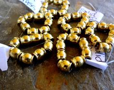 8x6mm Solid Brass Beads, Shiny Brass Beads, 8mm Round Brass Beads by DragonflyBeadsStudio on Etsy