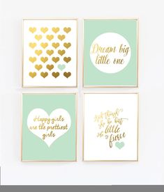 Mint and Gold Nursery Prints - Set of 4 Mint green and gold baby girl nursery. Finish off your little girl's nursery with this set of four wall prints. - And though she be but little, she is fierce by Shakespeare - Heart in gold - Dream Big Gold Nursery Decor, Mint Nursery, Nursery Prints, Nursery Room, Nursery Wall Art, Wall Prints, Baby Room, Blush Nursery, Pink Gold Nursery