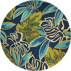 Beachcrest Home Mariann Areca Palms Hand-Hooked Azure/Green/Navy Blue Indoor/Outdoor Area Rug Rug Size: Round Round Area Rugs, Blue Area Rugs, Indoor Outdoor Area Rugs, Outdoor Patios, Cool Rugs, Dream Decor, Ceramic Painting, Carpet Runner, Colorful Rugs