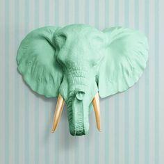 Mint Green / Gold Faux Elephant Head
