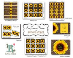 Sunflower printables for a party... water bottle wraps, buffet labels, favor tags, etc.