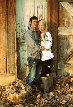 One of my first photo shoots!! I love these two I was so excited when they let asked me to take their pictures for their Christmas cards!! #christmaslights #oldbarn #couple
