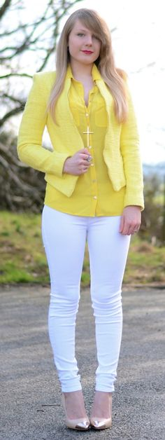 Lemon Yellow Blazer With White Jeans (Raindrops of Sapphire) f98f0e7d0