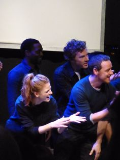 Benedict & James McAvoy encouraging Childrens Monologues director Danny Boyle to join the cast on stage -The Dramatic Need event - 25th October 2015