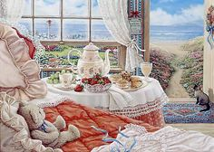Janet Kruskamp's Paintings - Cottage by the Sea, a painting depicting the interior of a room of the seaside cottage, the open door beckoning the unoccupied room down the path to the seashore. A Siamese cat sits at the door waiting, along with her brown teddy bear on the bed, for her young mistress to return. The table next to the bed is set with fresh strawberries and grapes, along with pastries and tea. One of the Gardens and Florals Gallery of Original Oil Paintings and  Personally Enhanced Gi